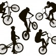 Biker silhouettes set — Stock Vector