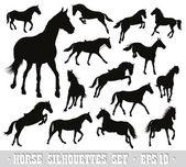 Vector horses set — Stock Vector