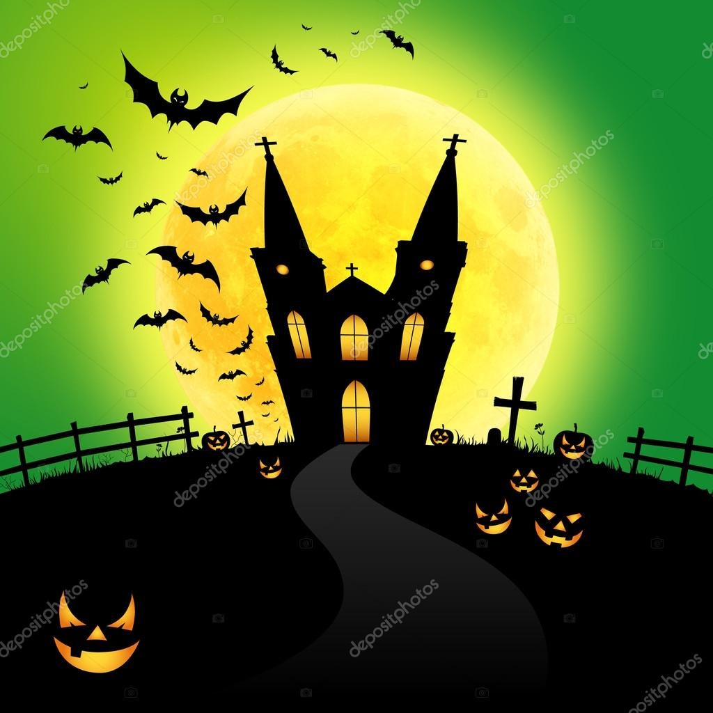 Happy Halloween on yellow moon background — Stock Photo #12225249