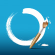 Paint brush. blue background — Wektor stockowy #12834431