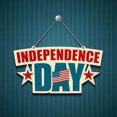 Amerikaanse borden onafhankelijkheidsdag opknoping met ketting — Stockvector
