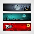 Happy Halloween day banner design background set — Stok Vektör