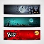 šťastný halloween den banner design pozadí sada — Stock vektor