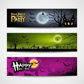 Halloween banners set design background — Stock Vector