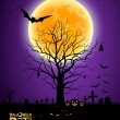 Halloween tree full moon background — Stock Vector