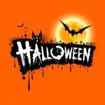 Happy Halloween text design orange background — Stock Vector #13688158