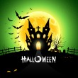 Royalty-Free Stock Vektorfiler: Halloween house scary on green background