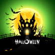 Halloween house scary on green background - Stock Vector