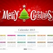Calendar 2013 Merry christmas background — Stock Vector