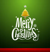 Merry Christmas lettering on green background — Vector de stock