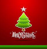 Feliz navidad letras fondo verde árbol — Vector de stock