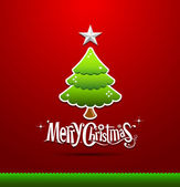 Merry Christmas lettering green tree background — Vector de stock