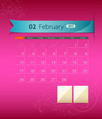 February 2013 calendar ribbon design — Stock Vector