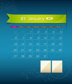 January 2013 calendar ribbon design — Stock Vector