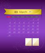 March 2013 calendar ribbon design — Stock Vector