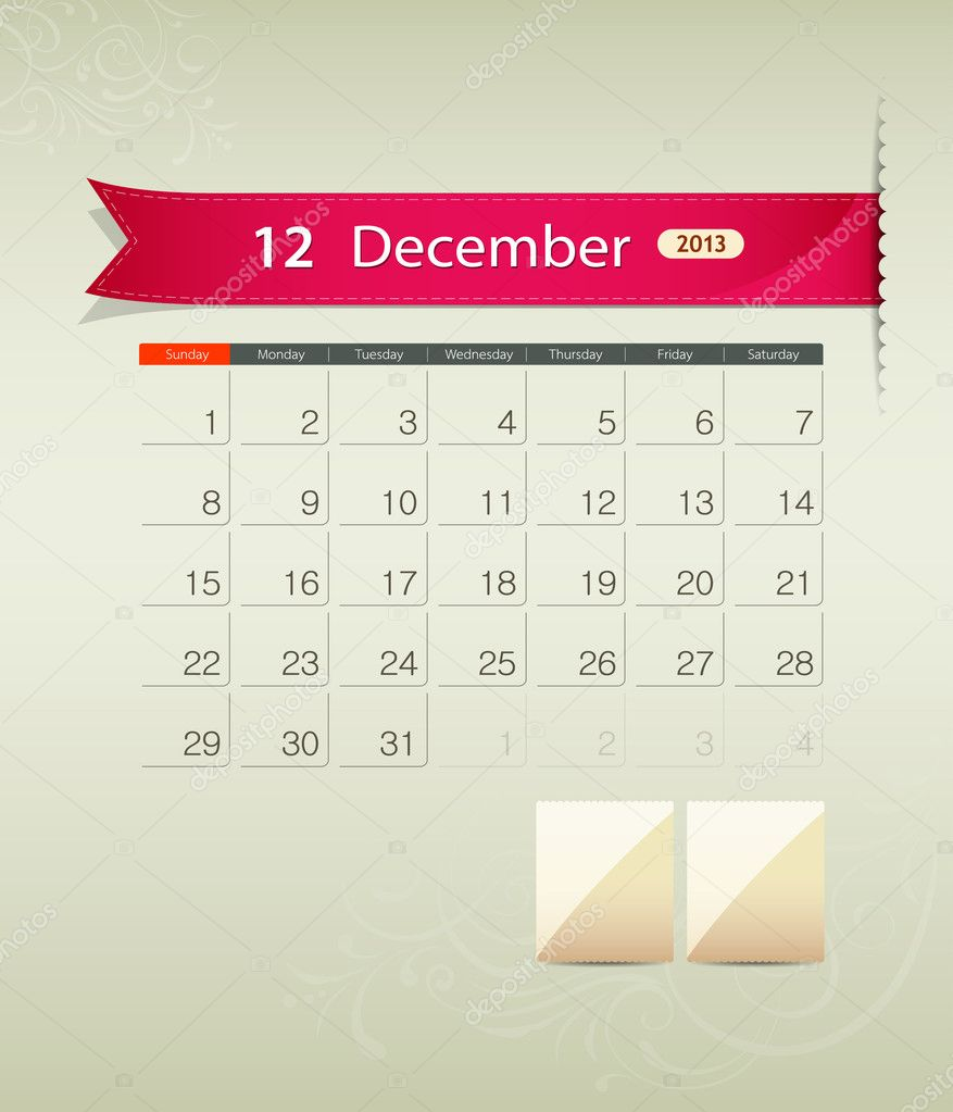 Calendar Ribbon Design : December calendar ribbon design — stock vector