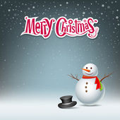 Snowman design on snowflake background — Cтоковый вектор