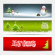 Merry Christmas banners set design background — Stock Vector