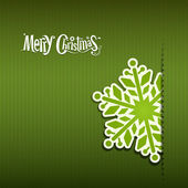 Merry Christmas Snowflakes paper green background — Stock Vector