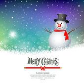 Merry Christmas Snowman Greeting card — Stock Vector