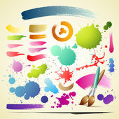 Paint brush colorful watercolor collections background — Stock Vector