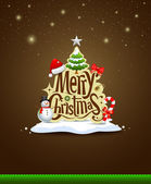 Merry Christmas lettering design greeting card background — Stock Vector