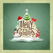 Merry Christmas vintage design greeting card background — Stockvector  #15701491