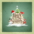 Merry Christmas vintage design greeting card background — Stock Vector #15701491