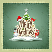 Merry Christmas vintage design greeting card background — Stock Vector