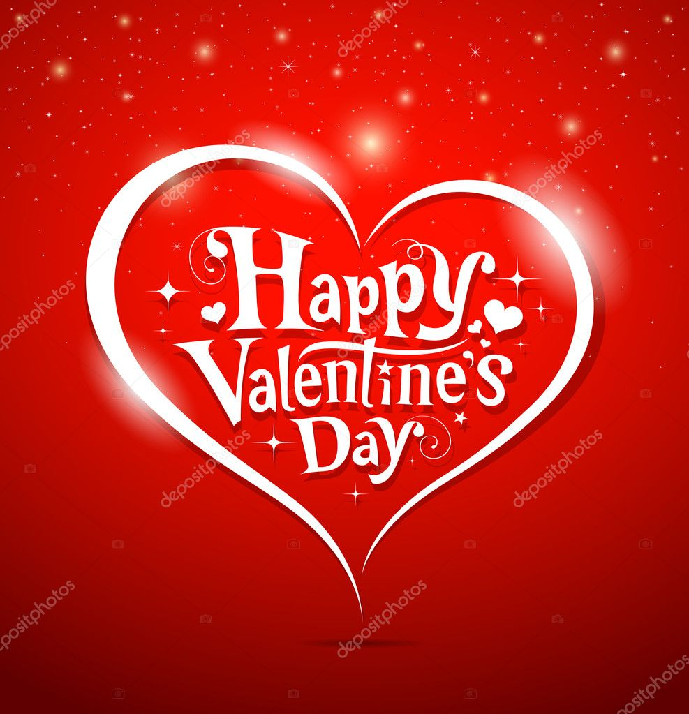 Happy Valentine's Day lettering Greeting Card on red background, vector illustration — Imagen vectorial #18489451
