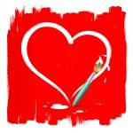 Paint brush heart shape on red background — Stock Vector