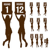 Silhouette boxing ring girl, holding sign — Stock Vector