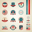 Stock Vector: Vintage label independence day american