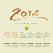 Calendar 2014 text paint brush on paper recycle — Stock Vector