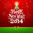 Happy New Year 2014 lettering Greeting Card — Stock Vector