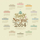 Calendar happy new year 2014 text design — Stock Vector