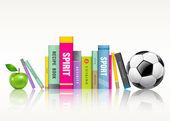 Rad av färgglada böcker, fotboll och grönt äpple — Stockvektor