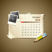 Calendar October 2014, vintage paper note — Stock Vector