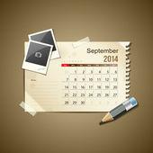 Calendar September 2014, vintage paper note — Stock Vector