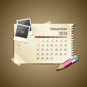 Calendar December 2014, vintage paper note — Stock Vector