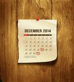 Calendario diciembre de 2014 — Vector de stock