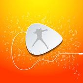 """Gitarre design """"musik"""" auf orangefarbenen hintergrund holen — Stockvektor"""