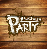 Halloween party message design on wood background — Vettoriale Stock