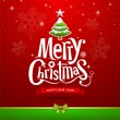 Merry Christmas lettering design on red background — Stock Vector