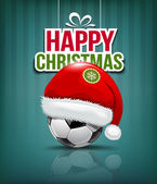 Merry Christmas, Santa hat on soccer ball background — Stock Vector