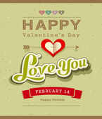 Progettazione di banner messaggio felice san valentino su carta riciclata — Vettoriale Stock