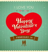 Happy Valentine's day message, red heart vintage banner — Stock Vector