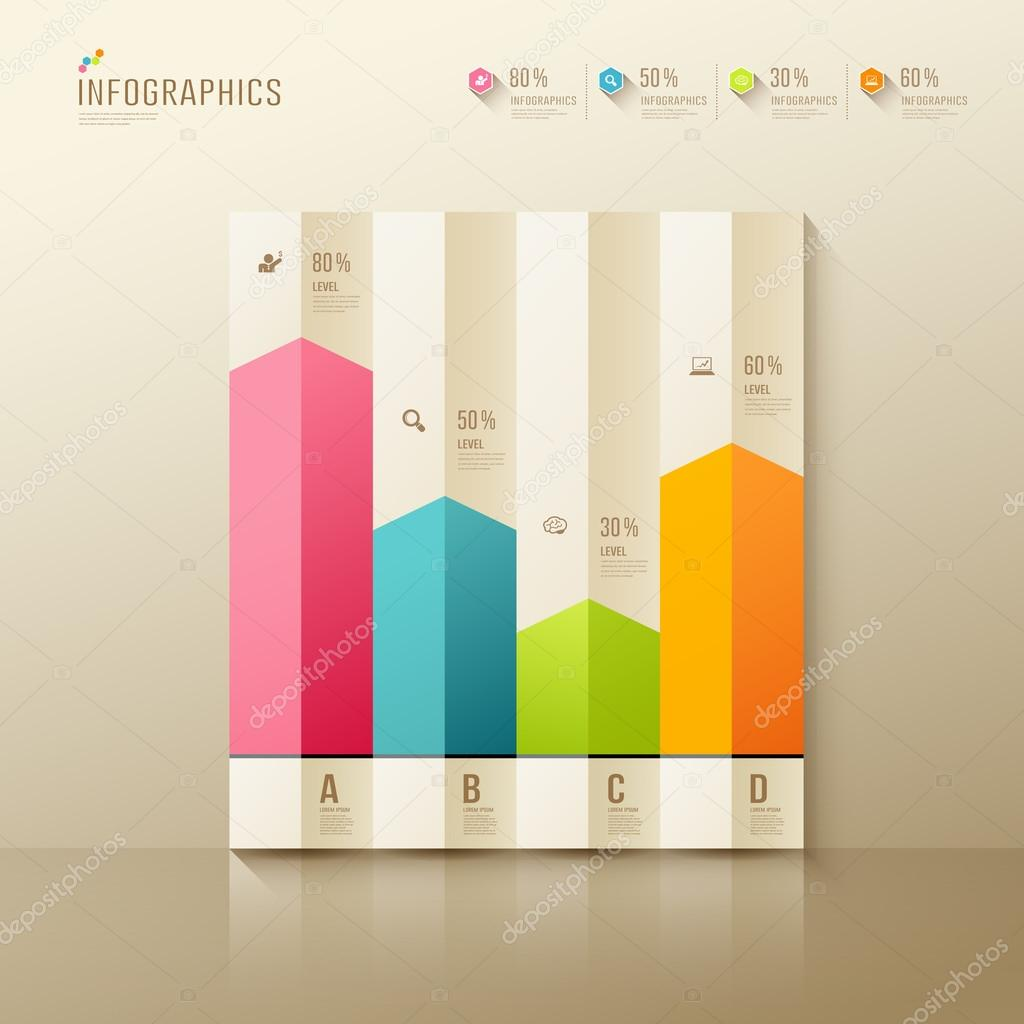 Colorful Origami Paper Graph Infographic Design