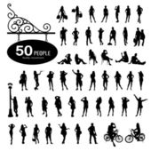 Silhouette people bodily movement background — Stock Vector
