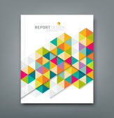 Cover report abstract colorful geometric template design — Stok Vektör